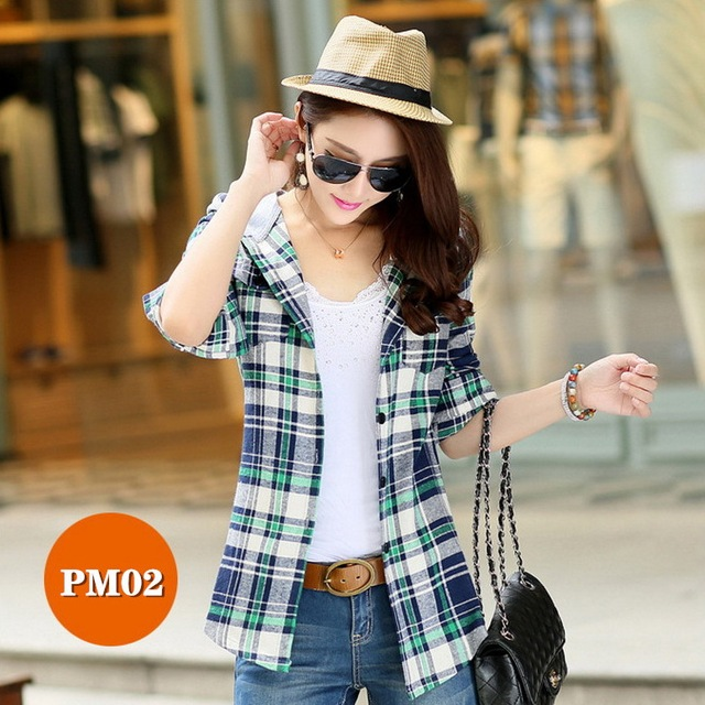 High-end women's plaid shirt Japanese style 100%Cotton Soft Breathable Comfortable Colorfast Anti-Pilling Keep-warm Hooded shirt 6