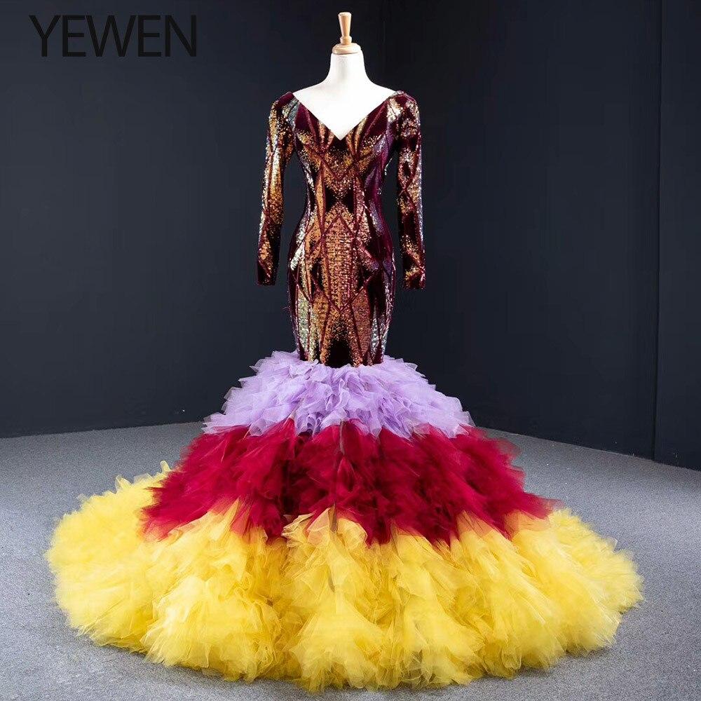 New Evening Dress Long Sparkling Full Sleeve Double V-Neck Women Elegant Sequin Mermaid Maxi Evening Party Gown Dresses 2020