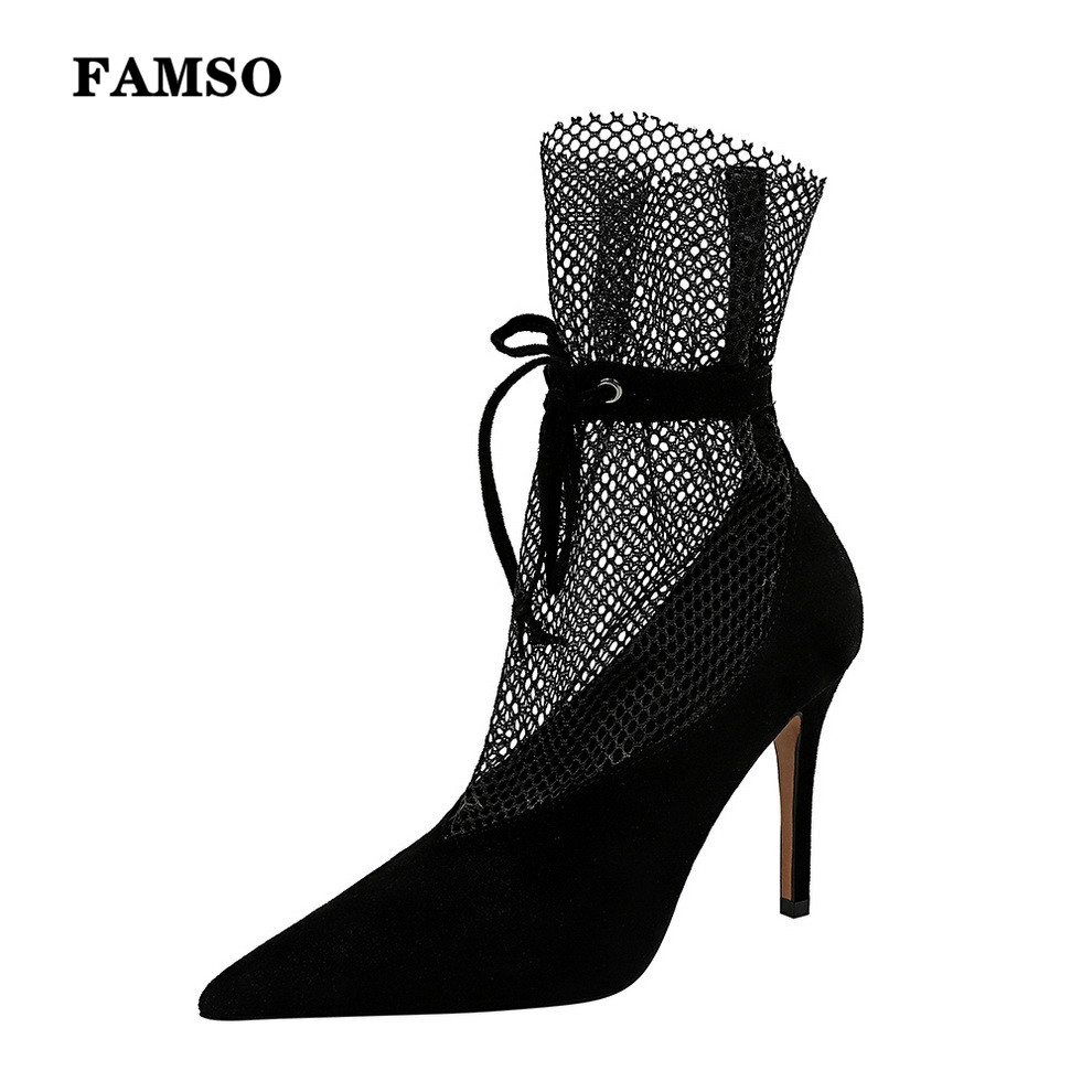 FAMSO Fashion Suede Sexy Super High Heel Women's Shoes Black Stiletto Pointed Banquet Shoes Female Net Surface Women's High Heel