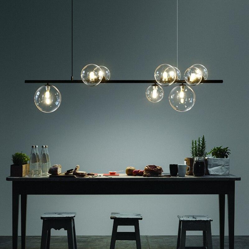 Nordic Glas Ball Kronleuchter Licht Moderne Esszimmer Leuchte Decor Hängen Licht Suspension LED Lampe