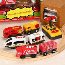 Мини-Радиоуправляемый автомобиль на дистанционном управлении, Радиоуправляемый Электрический маленький поезд, набор игрушек, маленькие игрушечные поезда, связанные с деревянной железной дорогой, интересная игрушка