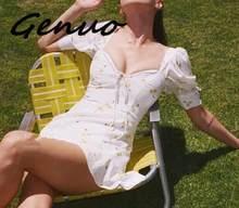 Женское мини платье genuo желтое облегающее короткое во французском