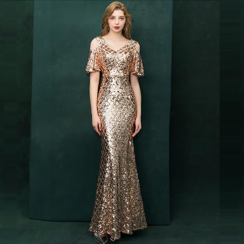 Evening Dress Hollow Short Sleeve Women Party Dresses 2019 Floor Length Elegant Robe De Soiree V-neck Formal Evening Gowns F182