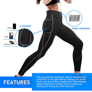 Image 2 - 2019 Women Sauna Weight Loss Slimming Pants Workout Neoprene Pants Side Pocket Heat Thermo Sweat Legging casual trousers clothes