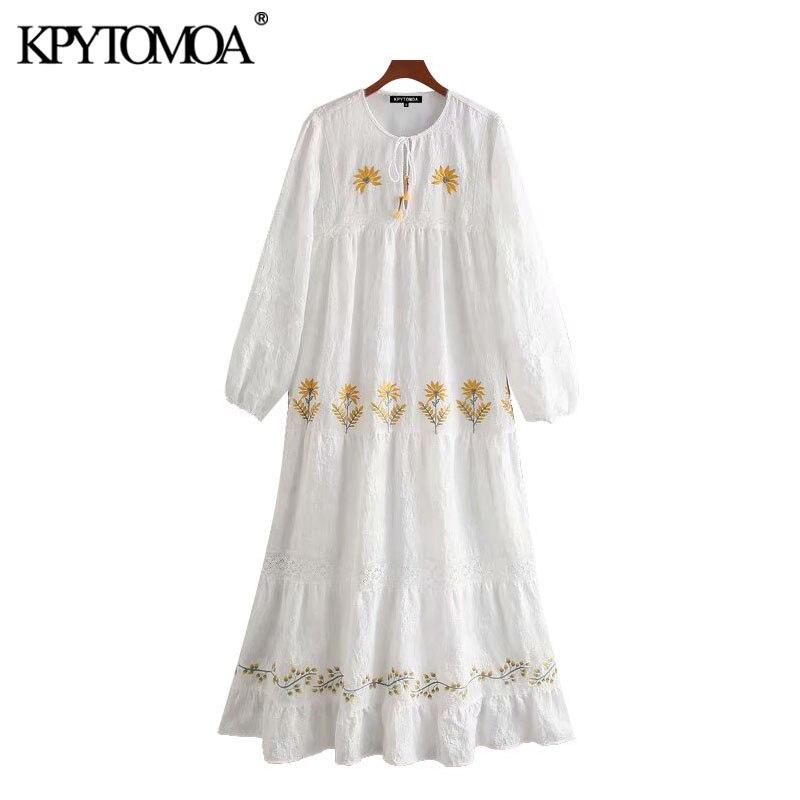 KPYTOMOA Women 2020 Elegant Fashion Floral Embroidery Ruffled Midi Dress Vintage Tied V Neck Long Sleeve Female Dresses Vestidos