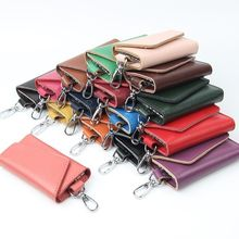 Vento Marea Fashion Simple Key Holder Real Leather Unisex Solid Wallet Organizer Pouch Bag Car Housekeeper Mini Card
