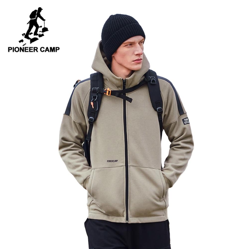 Pioneer Camp 2020 Mens Jackets and Coats Winter Warm Fleece Thick Hooded Black Khaki Men's Jacket AJK908159