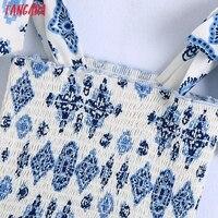 Tangada Boho Style Fashion Flowers Print Strap Dresses for Women 2021 Female Casual Long Dress BE136 2