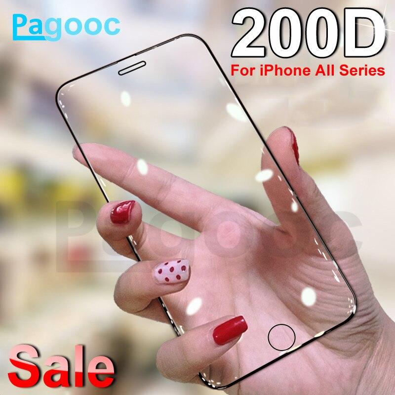 200D полностью изогнутое защитное закаленное стекло для iPhone 6S 6 7 8 Plus X XS Glass XR 11Pro Xs Max чехол с защитной пленкой для экрана|Защитные стёкла и плёнки|   | АлиЭкспресс