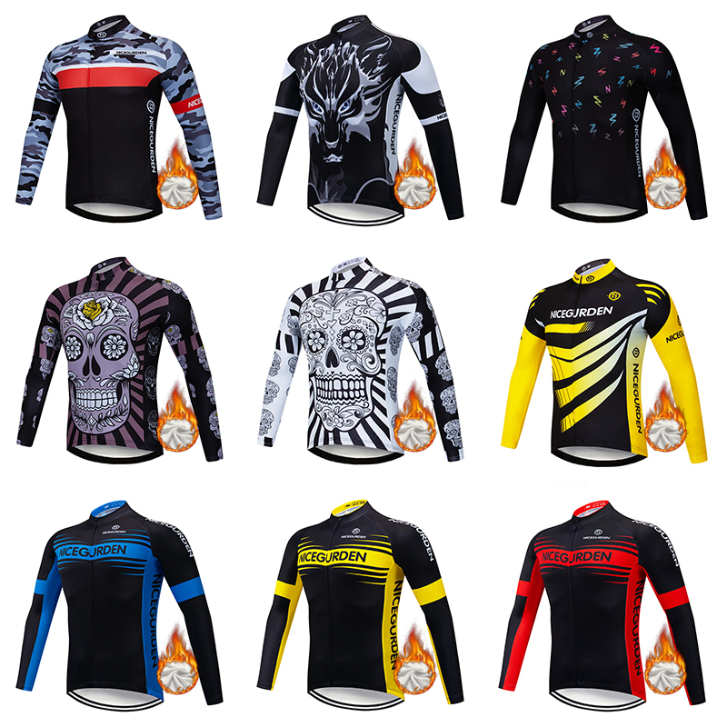Men's long-sleeved plus velvet warm one-piece cycling jersey 2020 mountain road bike jersey outdoor sports shirt cycling jersey