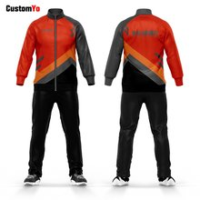Black And Red Jogging Suits Long Sleeve Zipper Running Wear Custom Sweatshirt Tracksuits(China)