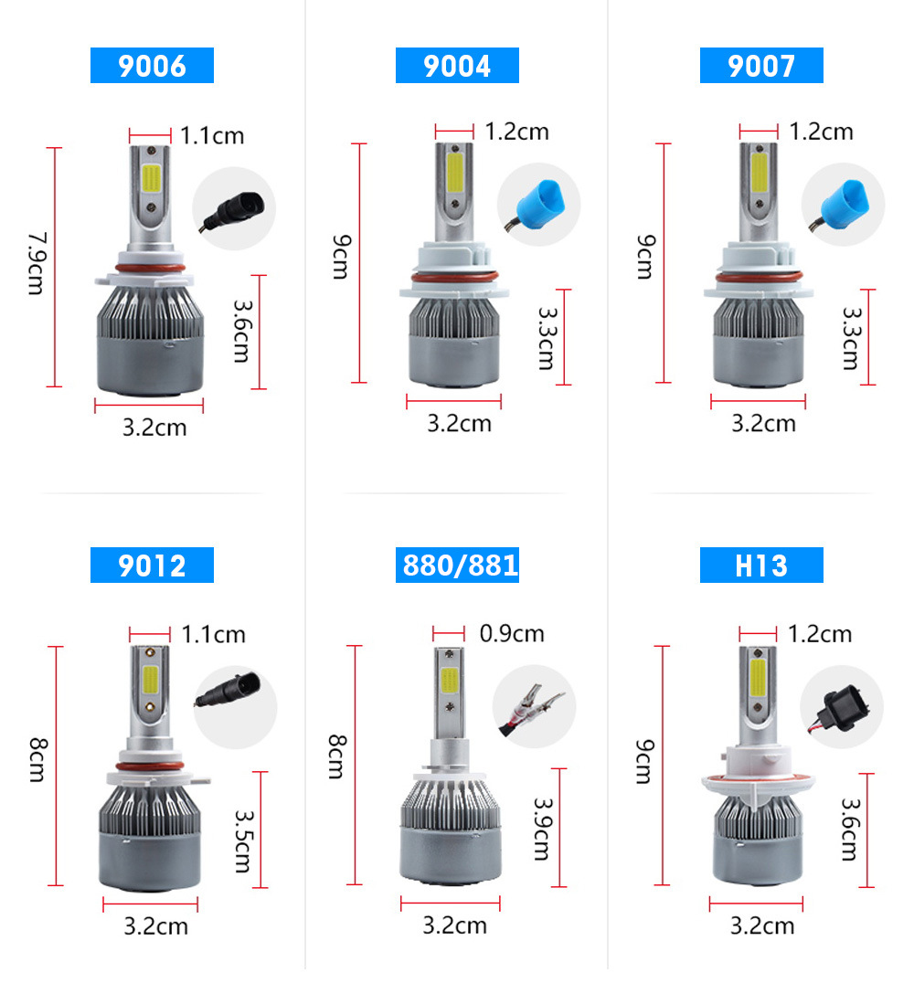 C6 H1 H3 Car Led Headlight Bulbs H7 LED Car Lights H4 880 H11 HB3 9005 HB4 9006 H13 6000K 72W 12V 7600LM Auto Headlamps 6