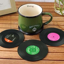 6pieces / Set Spinning Retro Vinyl Disc Drink Coasters