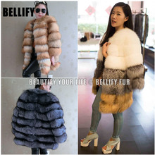 Hot sale European Luxury real Red Fox Fur coats , Plush Natural silver fox fur outerwear womens coat customized