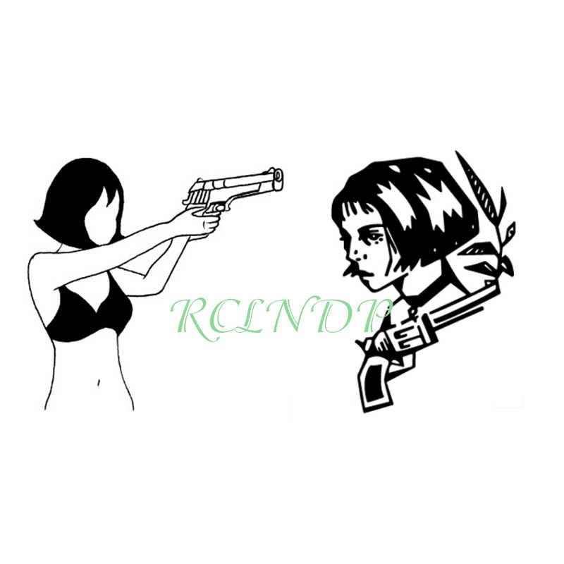 Tahan Air Stiker Tato Sementara Hitam Gun AK 47 Tattoo Tato Palsu Air Transfer Tattoo untuk Pria Wanita