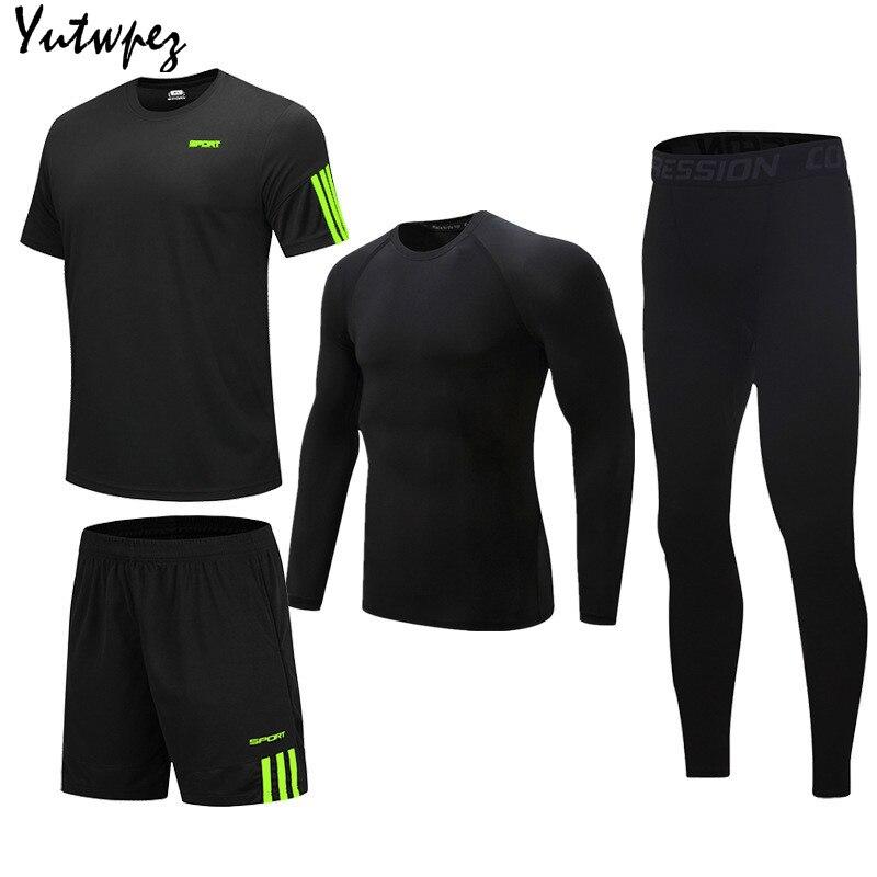 4PCS/Sets Men's Sports T-Shirt  Suits Running Shrits+Sports Shorts+Jogging Pants Mens Tracksuit Men New Sportswear Suit Sets