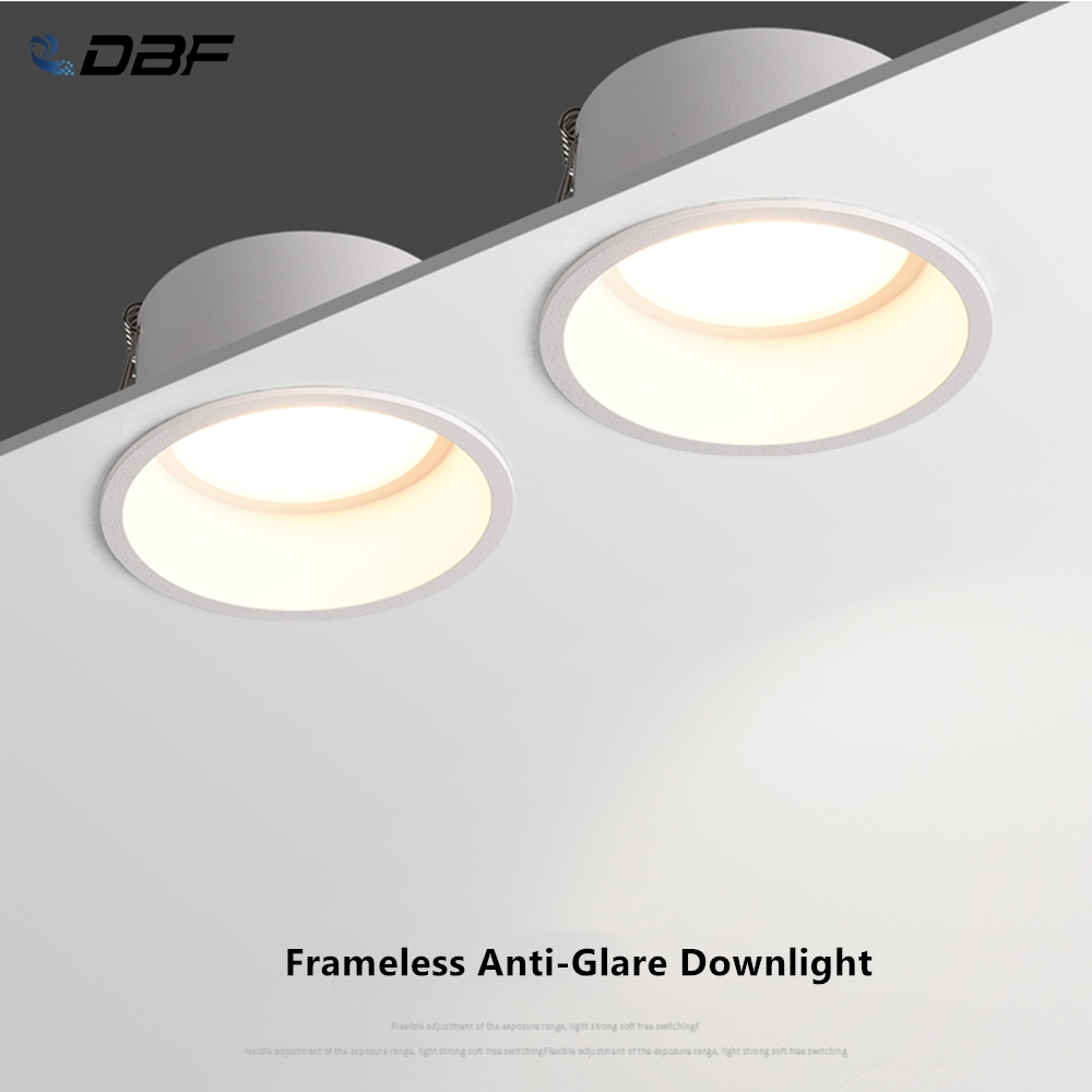 [DBF]Round Deep Glare Recessed Downlight Dimmable 5W 7W 12W 15W LED Ceiling Spot Light For Home Porch Corridor Aisle Background