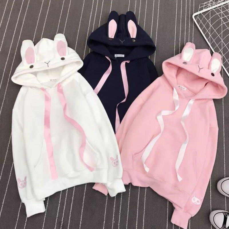 Sweet Style Kpop Cute Rabbit Ears Hoodies Women Solid  Plus Size Women's Hooded Pullover Thicken Long-sleeved Hoodie Sweatshirt!