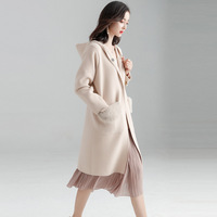 Fishion Office Lady Hooded Long Woolen Winter Coats Women Covered Button Wool Coat And Jacket Loose Pockets Solid Ladies Coats