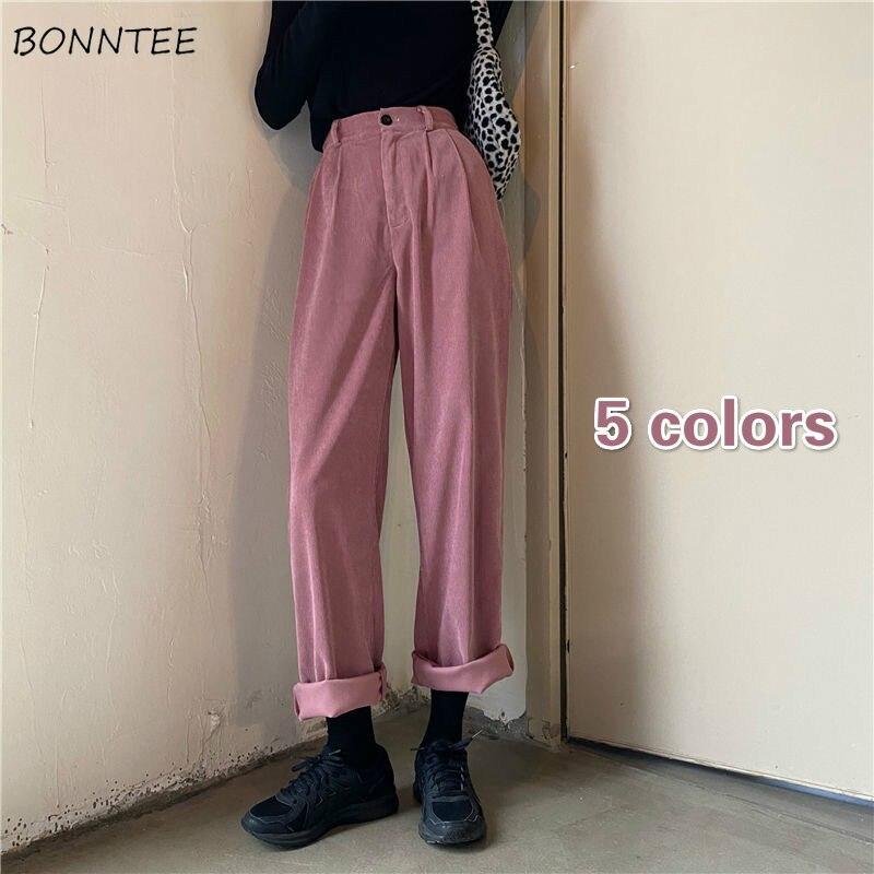Breite bein Hosen Frauen Dicke Herbst Grundlegende Solide Einfache Hohe Taille Teens Koreanischen Hosen Casual Cord Chic Beliebte Femme boden