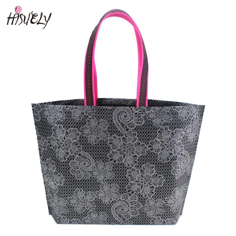 2020 New Fashion Women Lady Foldable Shopping Bag Waterproof Thick Handbag Casual New Portable Large Capacity Zip Nylon Tote