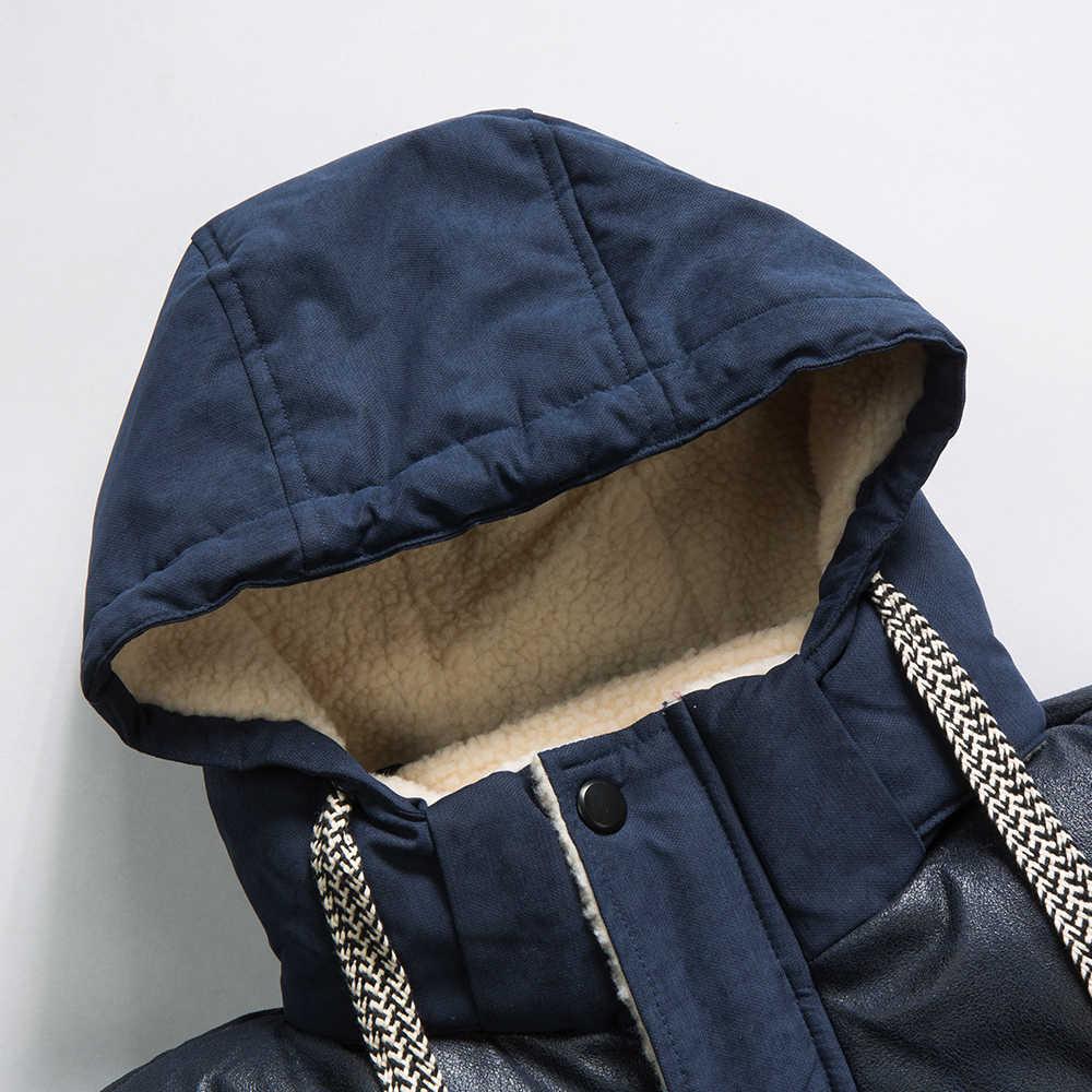 Men 2019 Winter Brand New Casual Warm Thick Fleece Jacket Parkas Men New Luxury Outwear Windproof Waterproof Hat Parkas Coat Men