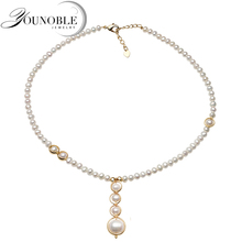 100% Real Natural Freshwater Pearl Necklace Women,Beautiful Collar White Pendant Necklace Girl Anniversary Gift