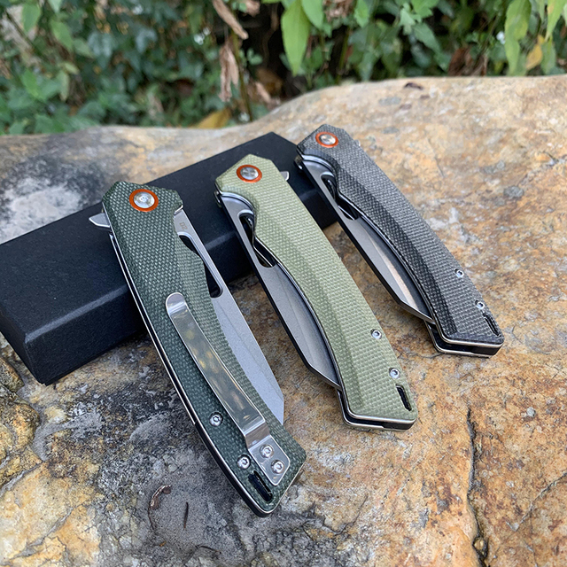 TUNAFIRE one D2 Blade High-end linen Handle Camping Hunting Folding Knife Outdoor Pocket Survival edc Knife 6