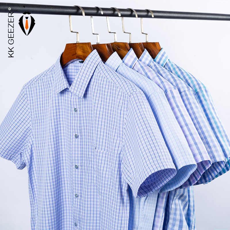 남성 셔츠 격자 무늬 짧은 소매 2020 여름 스트라이프 드레스 셔츠 정장 캐주얼 슬림 맞는 포켓 고품질 비즈니스 Dropshipping