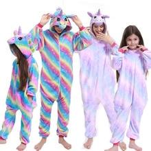 Nightgown Pyjamas Kids Panda Onesie Animal-Sleepwear Unicorn Kigurumi Flannel Winter
