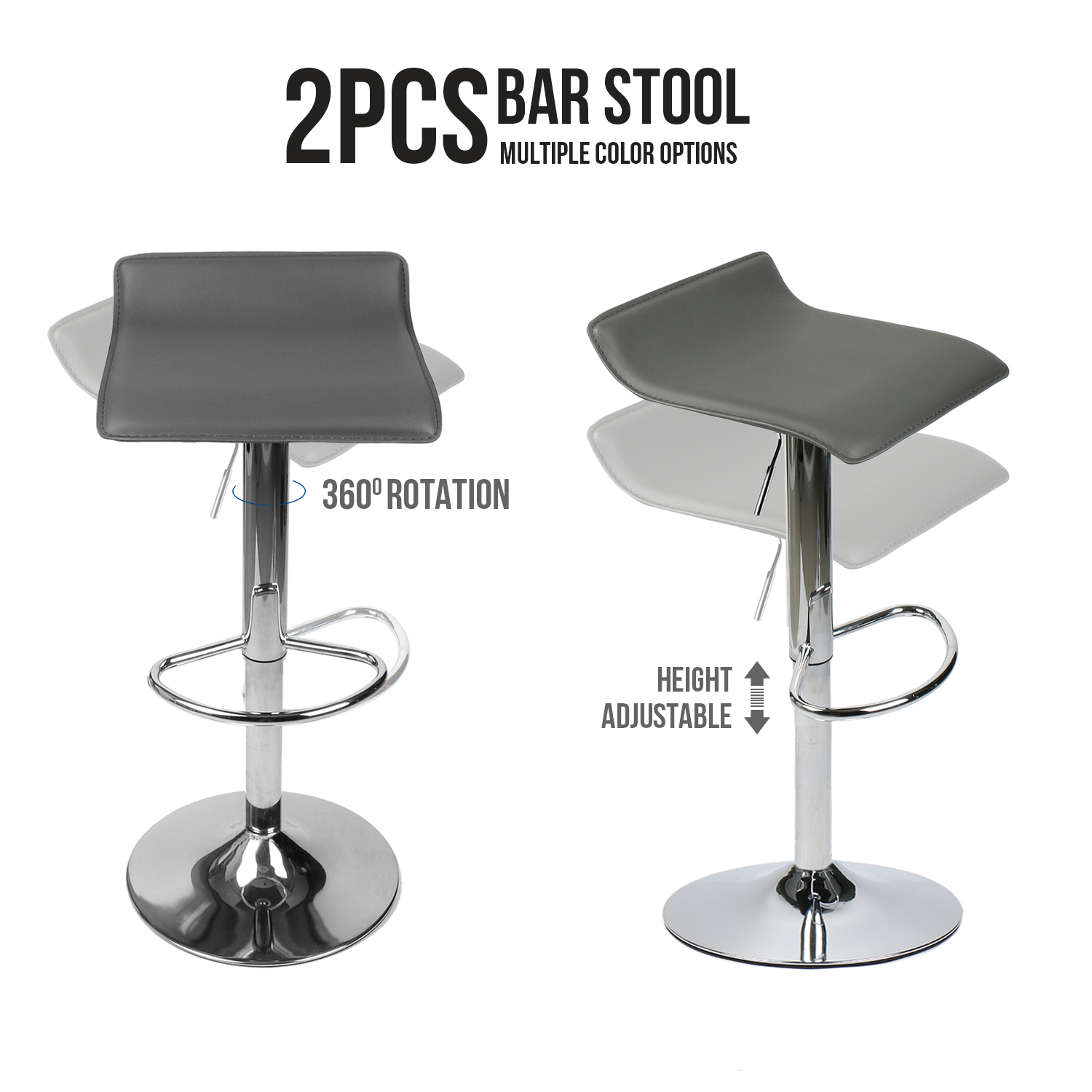 Set Of 2 PU Leather Bar Stools Counter Height Chrome Swivel Adjustable Backless Dining Chair Kitchen Pub