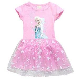 Детское платье принцессы Эльзы из мультфильма «Холодное сердце» для маленьких девочек; Летние хлопковые вечерние платья принцессы Эльзы д...
