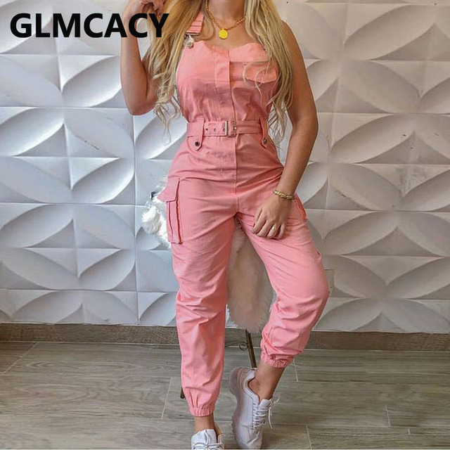 Women Pocket Design Cargo Suspender Overalls Jumpsuit Chic Streetwear Long Jumpsuit 1