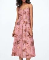 Ladies Midi Slip Dress Leaf Print Backless With Darped V Neck Linen Pink Beach Dresses Women