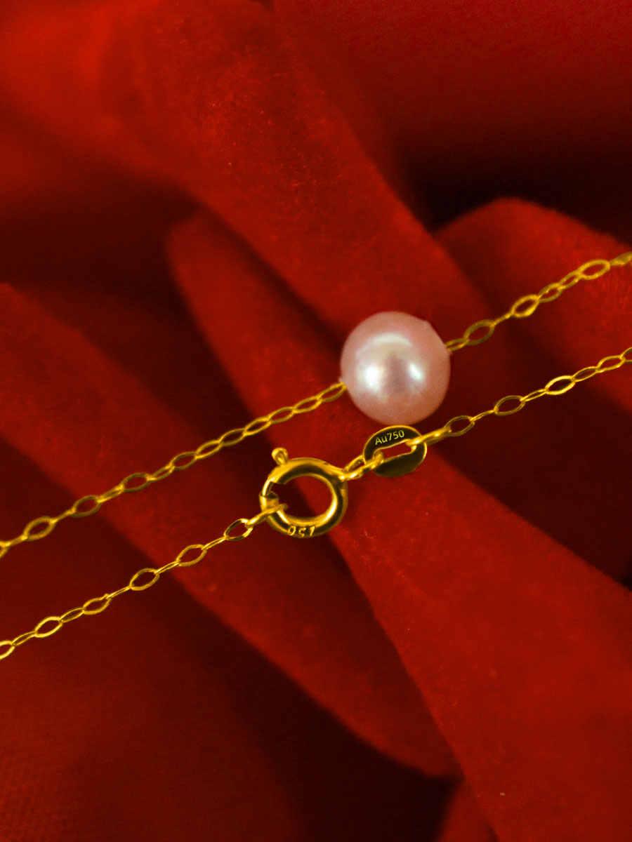 XF800 18K זהב צהוב טבעי מים מתוקים שרשרת פניני תכשיטי הטוב ביותר מתנה לחתונה כלה פרל שרשרות שרשרת XFX233