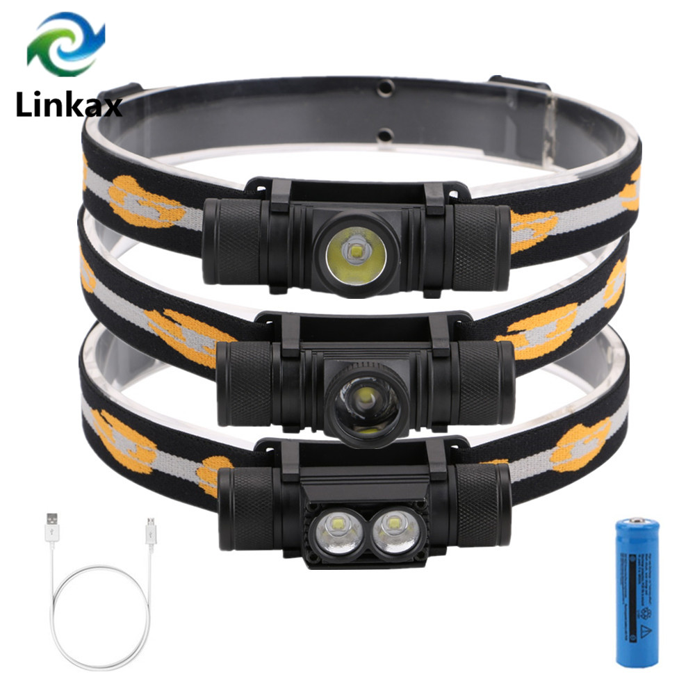 2019 CREE XM L2 LED Headlight Headlamp USB Charging White Light Head Lamp Flashlight 18650 Battery Headlamp For Camping Hunting