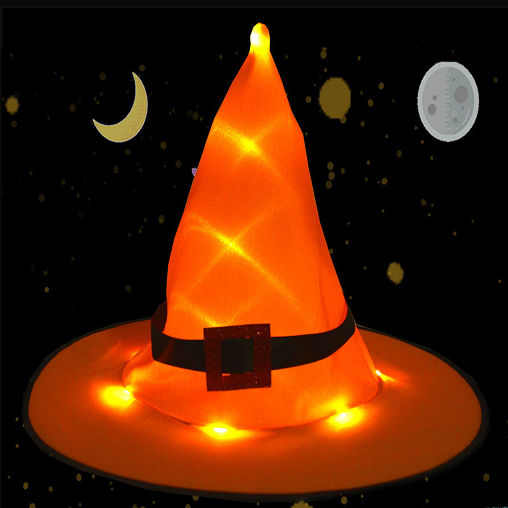 Black Witch Hats Masquerade Hat Halloween Hanging Lighted Glowing Witch Hats  Lights Halloween Witch Hat LED Light Outdoor