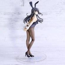 Seishun buta yarou wa sakurajima mai sexy coelho menina pvc figura collectible modelo de brinquedo