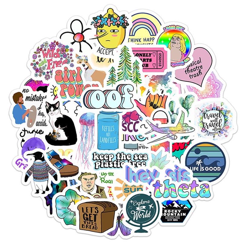 50PCS Cartoon Simple VSCO Girls Kawaii Stickers For Chidren Toy Waterproof Sticker To DIY Laptop Bicycle Helmet Car Decals F5