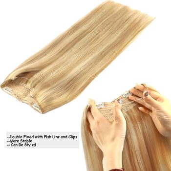 Straight Halo Remy Hair Extensions One Piece With 4 Clips With Invisible Wire.
