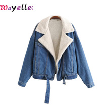 Vintage Winter Thick Warm Wool Denim Jacket Coat Women 2019 Casual Loose Blue Warm Velvet Female Jeans Jacket Coats Chic Outwear initialdream new thick velvet denim jacket outerwear 2019 winter warm women zipper jean jacket coat casual clothing