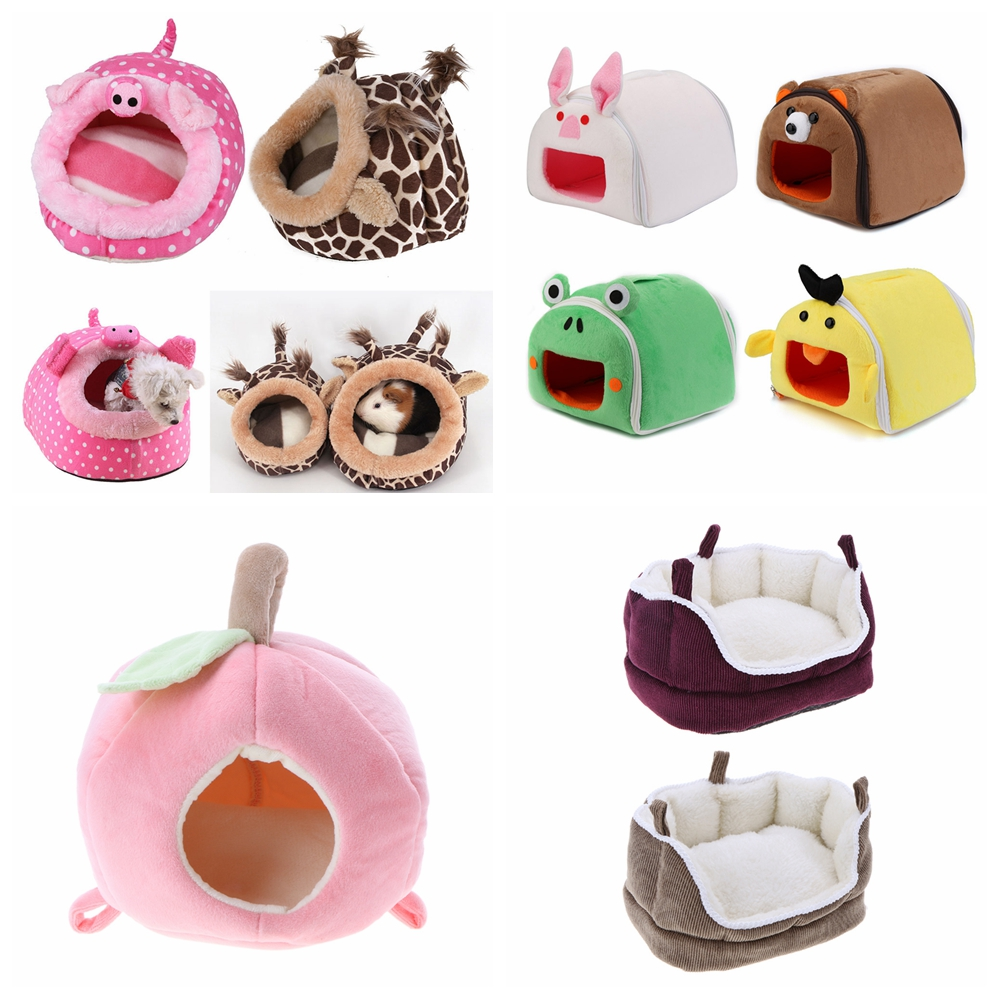 Winter Warm Cartoon Hamster House Bed Folding Cute Pet Rabbit Hamster Cages For Rat Squirrel Guinea Pig Nest