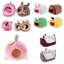 Winter Warm Cartoon Hamster House Bed Folding Cute Pet Rabbit Cages For Rat Squirrel Guinea Pig Nest