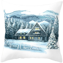 Fuwatacchi Christmas Style Cushion Cover White Snow Tree Pattern Pillow Cover Home Sofa Car Decorative Throw Pillowcase 45x45cm