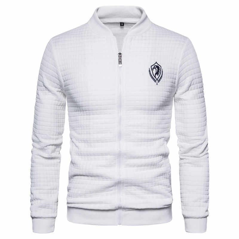 2020 nowa wiosna Eagle haft Bomber Jacket męski kardigan stojak kołnierz kurtka mężczyźni Casual Plaid Zipper męskie płaszcze i kurtki