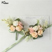 Meldel запястье корсаж свадьба мужчины бутоньерка девушка браслет жених булавки подружка невесты запястье корсаж цветок шелк красный роза бутоньерка