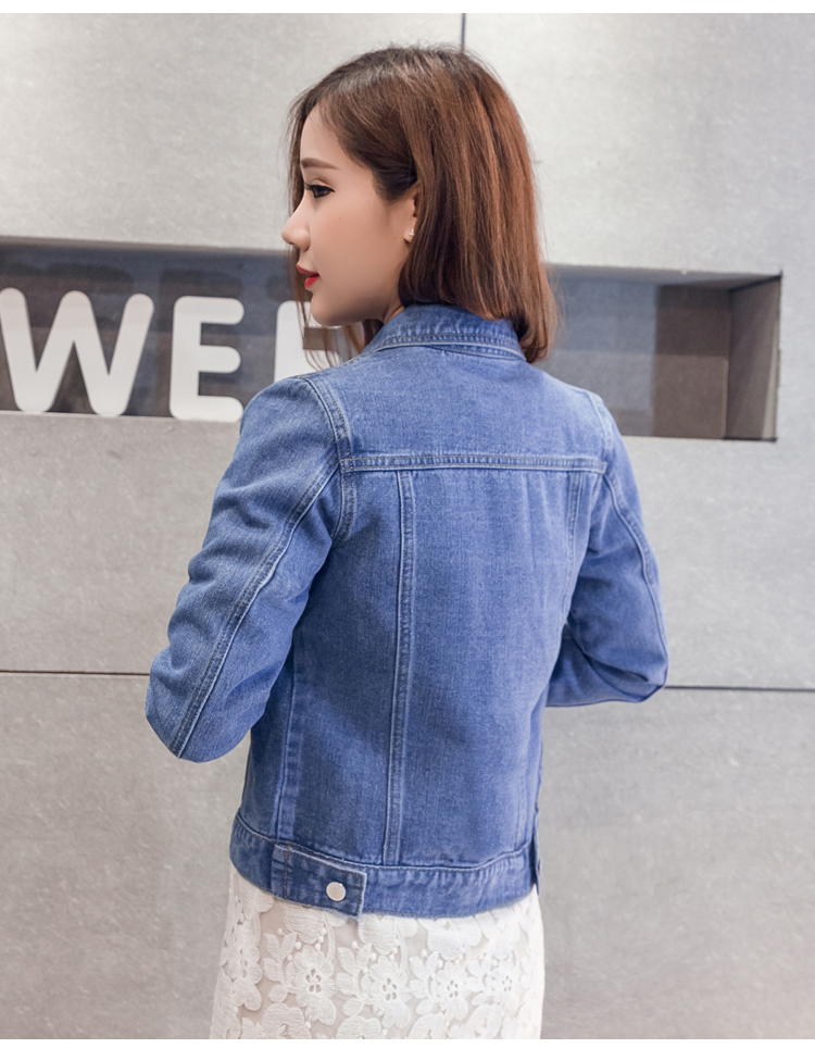 H3fc3df86c71e42368e8917a766fce7f9K 2019 Fashion Jeans Jacket Women Spring 2XL XL Spring Autumn Hand Brush Long Sleeve Stretch Short Denim Jacket White Pink Coats