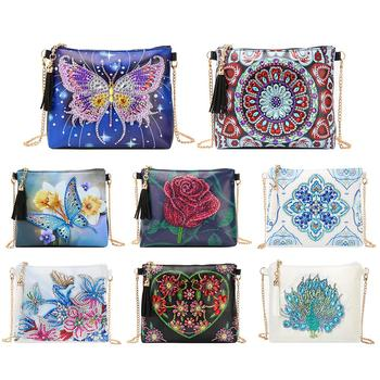 VKTECH 5D DIY Special Shaped Diamond Painting Leather Crossbody Bag Chain Makeup Bags Diamond Embroidery Bag Wallet Pouch Hot image