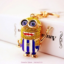Cute Keychain Cartoon Crystal Cut-Out Doll Car Key Chain Female Bag Accessories Metal Pendant Keyring Despicable Me Minions two tone cut out chain bag