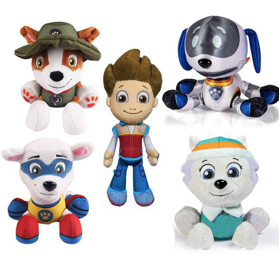4pcs/set Genuine Paw Patrol Plush Dolls 18cm Stuffed Toy Ryder Everest Tracker Apollo Gift Doll Boys Girls Christmas Gift